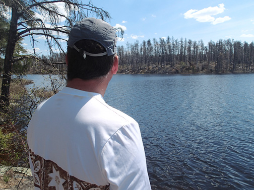 Looking from an unburned part of Lake Two toward fire-burned shoreline.