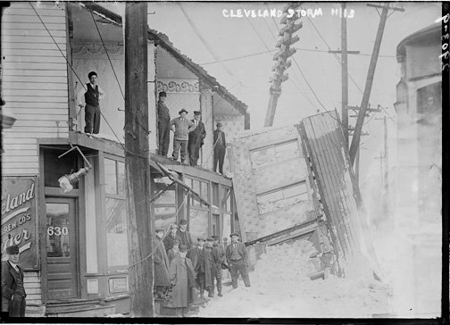 Cleveland: heavy winds tore up structures, blew out windows, and created five-foot drifts.