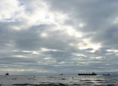 Four saltie ships, four celestial surfers