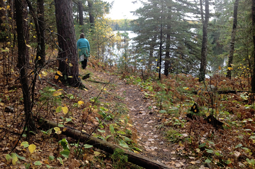 Fall hiking overlooking Bear Head Lake
