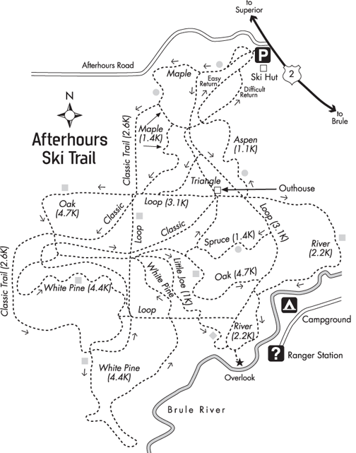 All trails roll up to Hilltop Junction, then many choices are available.